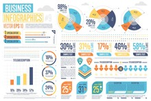 Business Infographics Set With Different Diagram Vector Illustration. Abstract Data Visualization, Marketing Charts And Graphs. Business Statistics, Planning And Analytics, Forecasting Growth Rates