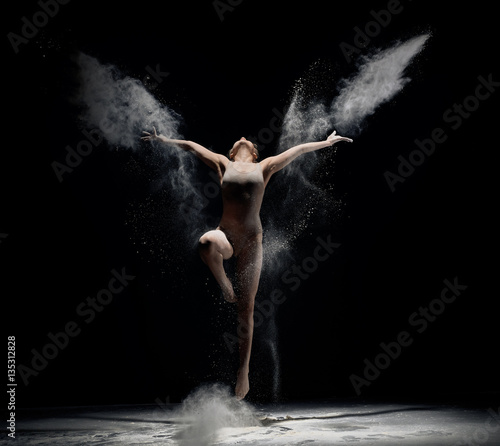 Fotografie, Tablou  Slender girl dancing in white powder cloud