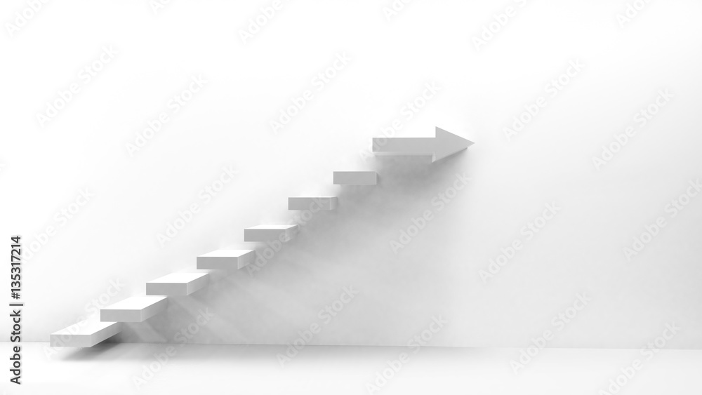 Fototapeta White stairs with arrow