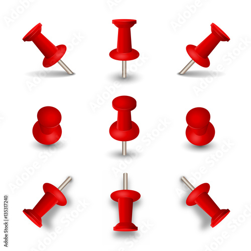 red push pins isolated on white background office thumbtacks or