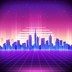 80s Retro Sci-Fi Background with Neon City. Vector retro futuristic synth ret...
