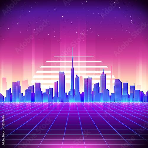 80s Retro Sci-Fi Background with Neon City. Vector retro futuristic synth ret...