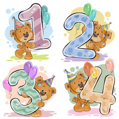 Naklejka Vector set of numbers with a fun teddy bear