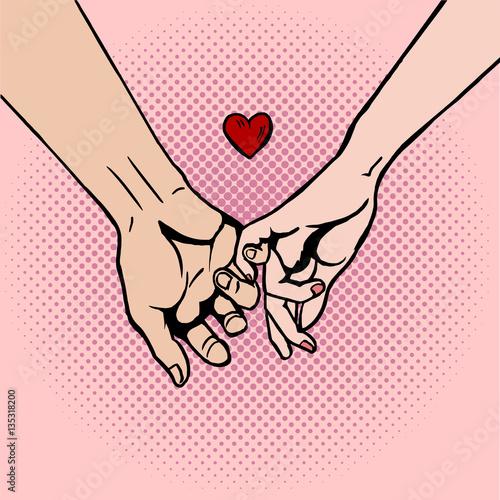 Fotobehang Pop Art Couple in love hold hands pop art vector