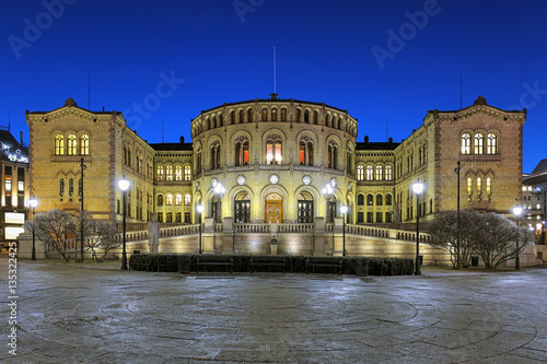 Photo  Storting building, the seat of the parliament of Norway, in Oslo in night