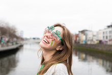 Beautiful Young Woman During St Patrick's Day In Dublin Ireland