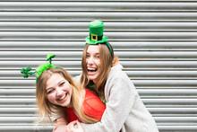 Female Best Friends Having Fun During St Patrick's Day In Dublin