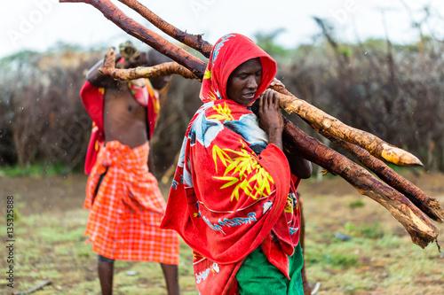 Foto op Aluminium Afrika Massai man collecting firewood