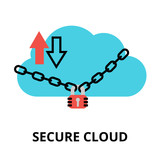 Secure cloud icon, for graphic and web design