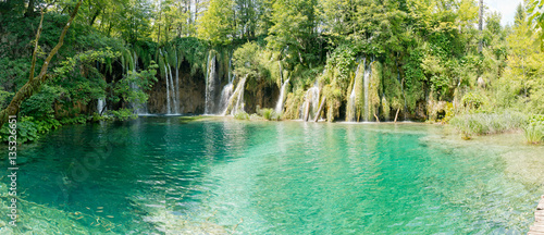 Fotobehang Pistache Beautiful view in the Plitvice Lakes National Park .Croatia