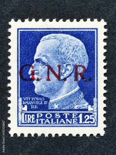 Poster  1943 Italy stamp: 1,25 Lira overprint GNR