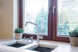 Kitchen tabletop with two sinks
