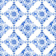 Watercolor Blue Lace Pattern