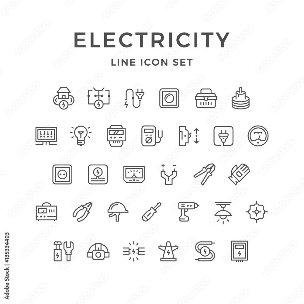 Fototapety, obrazy: Set line icons of electricity