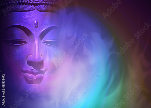 Foto op Canvas Zen Mystical Buddha Background - ethereal colored gaseous vapors rising up with a partial Buddha head emerging from the darkness on left side and copy space on right