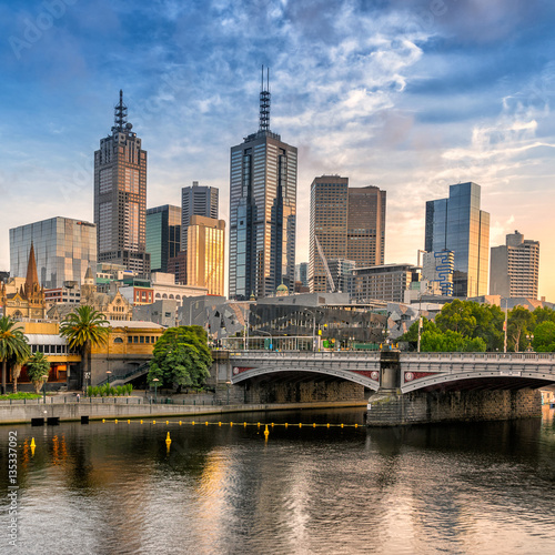 Canvas Prints Cappuccino Looking across the Yarra River to Melbourne city