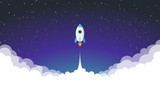 Space rocket launch. Vector illustration - 135357636