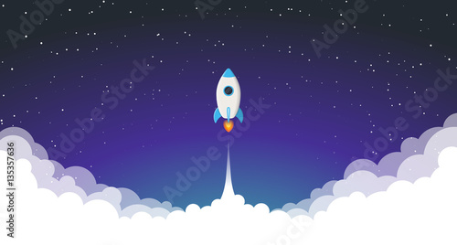 Fotografie, Obraz  Space rocket launch. Vector illustration