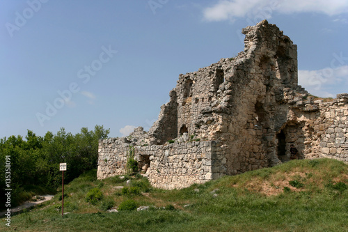 Foto op Aluminium Rudnes Stony ruins of the medieval fortress Mangup Kale in Crimean Mountains, Crimea.