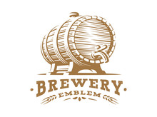 Wooden Beer Barrel Logo - Vect...