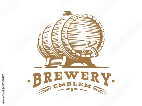 Stampa su Tela Wooden beer barrel logo - vector illustration, emblem brewery design on white ba