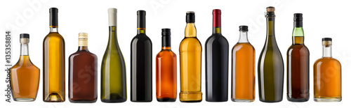 Photo Set of wine and brandy bottles