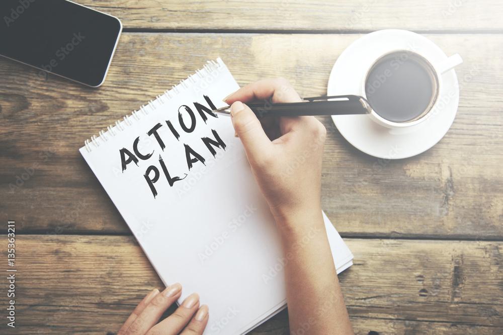 Fototapety, obrazy: Woman write action plan text
