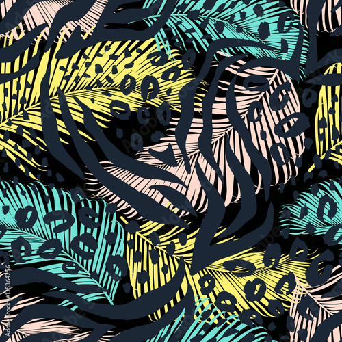 Fototapeta Abstract geometric seamless pattern with animal print