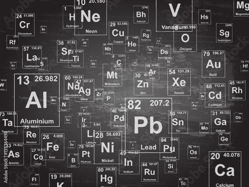 Chemical Elements Blackboard Tablou Canvas
