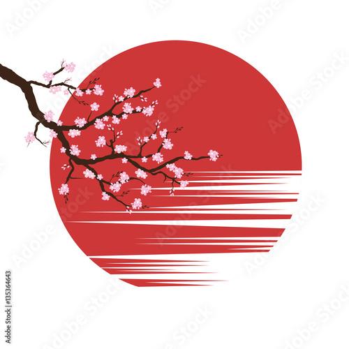 kwiat-wisni-w-czerwonym-kole-na-bialym-tle
