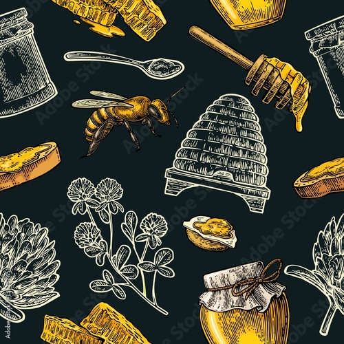Cotton fabric Seamless Pattern with honey, bee, hive, clover, spoon, cracker, honeycomb.