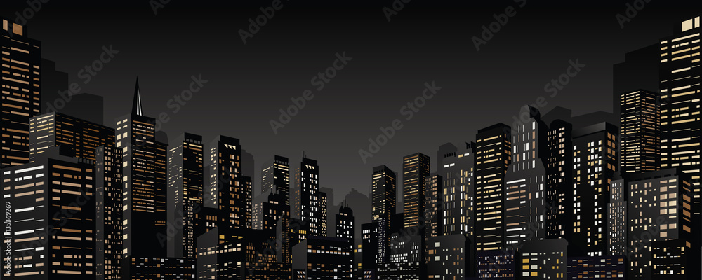 Fototapeta Cityscape with Group of Skyscrapers. Vector Banner