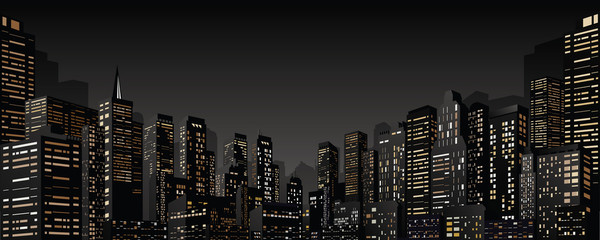 Panel Szklany Cityscape with Group of Skyscrapers. Vector Banner