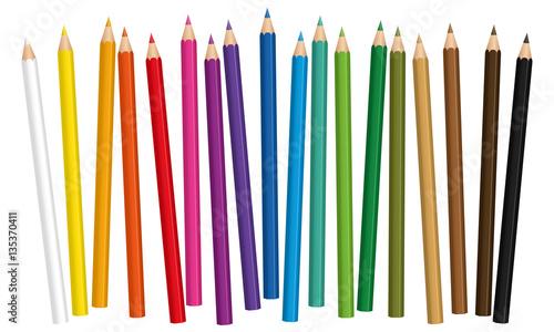 Ταπετσαρία τοιχογραφία Crayons - colored pencil set loosely arranged - vector on white background