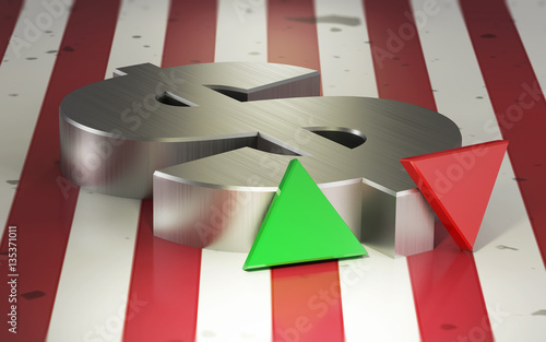 Dollar Exchange Rate Symbol Against The Flag Of The Usa Buy This
