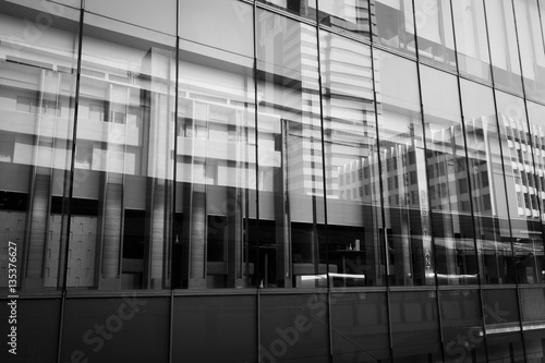 Modern architecture is composed of glass and steel structure. Black and white style. Abstract background.