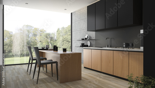 Stampa su Tela 3d rendering modern black kitchen with wood built in