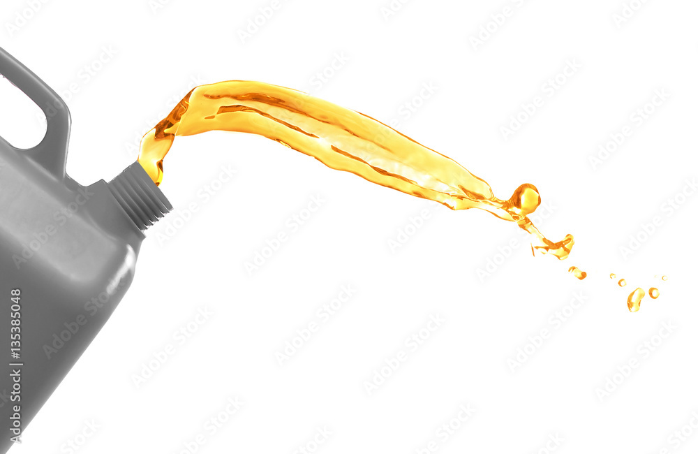 Fototapety, obrazy: Plastic canister and oil splash on white background