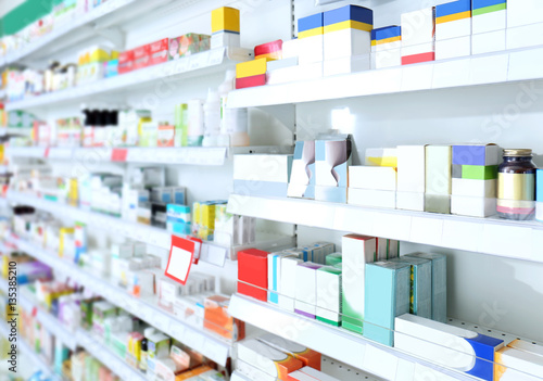 Photo sur Aluminium Pharmacie Various products on shelves at store
