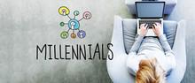 Millennials Text With Man Usin...