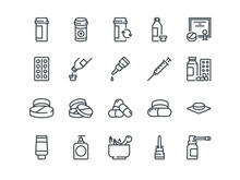 Pills. Set Of Outline Vector Icons. Includes Such As Gel, Inhaler, Prescription, Syrup And Other
