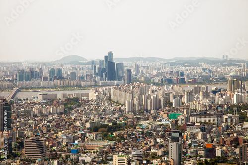 Aerial views of Seoul, South Korea Poster