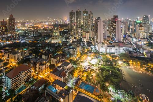 High view of Bangkok at nigh Wallpaper Mural