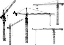 Five Black Building Cranes Silhouettes On White