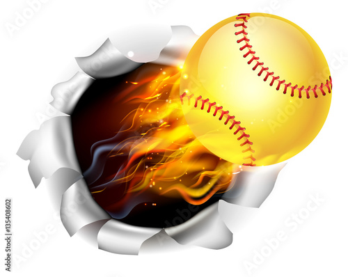 Photo  Flaming Softball Ball Tearing a Hole in the Background