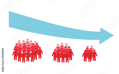 Vector image of three crowds of people getting smaller and a downwards arrow Canvas Print