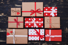 Nine Assorted Sizes Square Gift Boxes On The Flat Layout