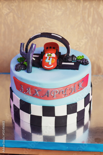 Juliste  Beautiful birthday cake for little boy in style of Lightning McQ