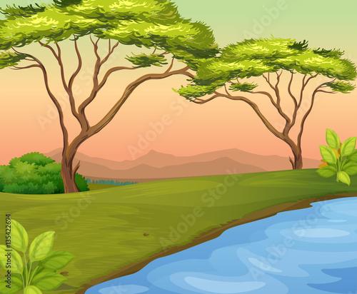 In de dag Pool River scene with trees in the field