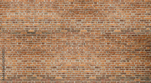 Photo sur Toile Brick wall Old red brick wall vintage texture. Grunge stonewall background for text or image.